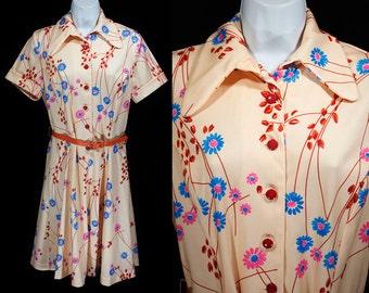 Vintage 70's Floral Dress w/ Orange Belt M