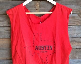 Vintage Austin Texas Longhorn Red Cutoff Crop Top Tee
