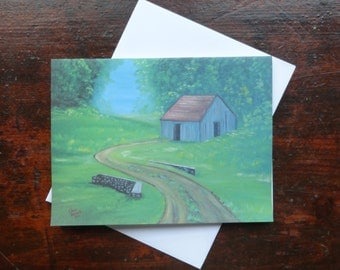 A Cabin: Folded Blank Note Card, Stationary