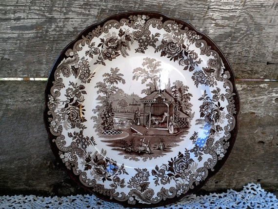 "SPODE Archive ""TIGER CAGES"", 10 1/2"", Dinner Plate, Brown Transferware, English Transferware, Zoo Animals, Wall Decor, Country"