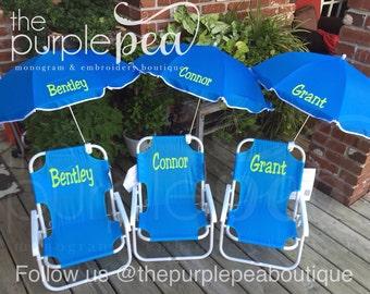 Monogrammed Kid's Beach Chair w/ umbrella, Childs Beach Chair