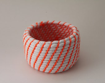 Upcycled Natural & Neon Rope Basket: Orange / Coiled / Small