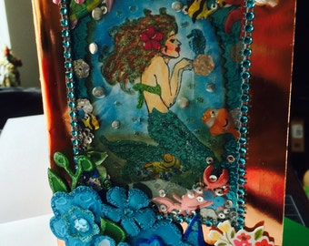 "Exotic, OOAK, gorgeous Mermaid"" shaker Card"" for any reason or season..."