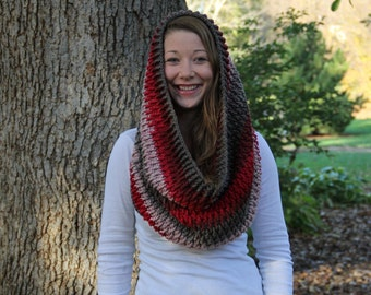 Cozy and Warm Hooded Crocheted Cowl - Red, Grey, Tan Stipes