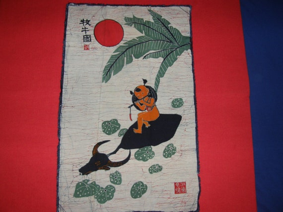 BOY with WATER BUFFALO - Vintage Chinese Batik Tapestry or Wall Hanging - Handmade in the Provinces