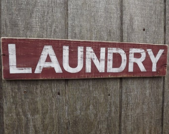 Wood Laundry Sign Reclaimed Wood Sign Pallet Sign Hand Painted Sign