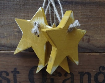Primitive Wood Star Ornament Pallet Wood Star Rustic Reclaimed Wood Star Set of 3