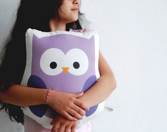 Stuffed animal purple owl plushy, cotton soft pillow, Children pillow, kids toy, baby deco, baby room stuffed toy, nursery room cushion