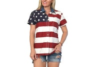 American Flag Shirt/ Flag Shirt/ Fourth of July/ Denim Top/ Americana/ Striped Shirt/ Stars/ Red and White Striped Top/ Red White and Blue