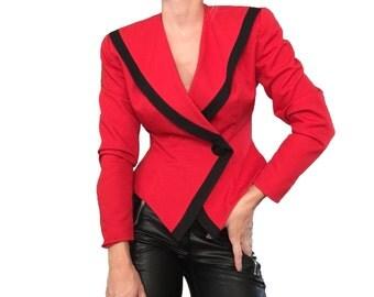 Red Blazer/ Red Jacket/ Red and Black Blazer/ Red Top/ Vintage Red Blazer/ Red Fitted Blazer/ Fierce Blazer/ Bright Red/ Statement Top
