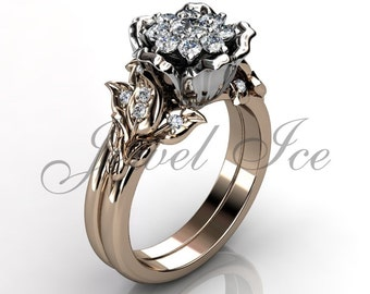 Flower Engagement Set - 14k rose and white gold diamond unique cluster flower engagement ring, wedding ring, flower engagement set ER-1100-6