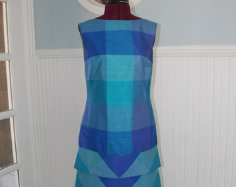 Vintage 1960s 60s Silk shift dress