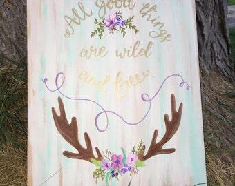 Gift,Home Decor,Birthday Gift,Rustic Nursery,Woodland Nursery,Woodland Name Sign,Deer Sign, Deer Decor, Woodland Baby Shower, Nursery Decor