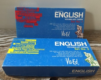2 Vintage Boxes Vis Ed English Vocabulary Cards (Set 1-880 Cards-incomplete) (Set 2-1000 Cards complete) Study Aid Mixed Media