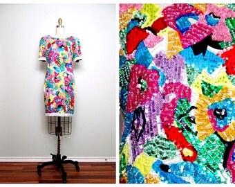 RARE Bright Sequin Dress / Art Deco Rainbow Sequined Trophy Dress by Black Tie Oleg Cassini US 6