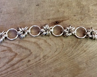 Sterling Silver Petite Chainmail Bracelet, Sterling Silver Flower Bracelet, Made in Canada, Female Gift
