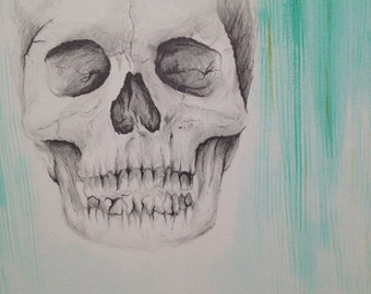 Original Skull Drawing Art Piece - pencil with watercolor - Fall with Water