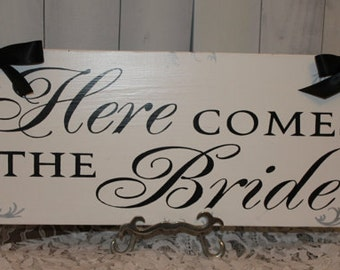 Here Comes the BRIDE Sign/Photo Prop/U Choose Colors/Great Shower Gift/White/Black/Silver/Wood Sign/Wedding Sign/U Choose Back/Fast Shipping
