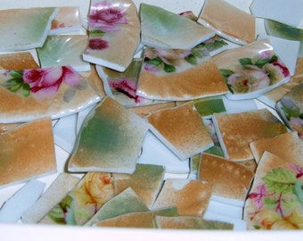 Take 40% Off, Iridescent China, Broken china, Mosaic tiles, Mosaic Tiles, Hand Cut, Rose china