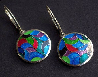 Handmade silver earrings with ennamel