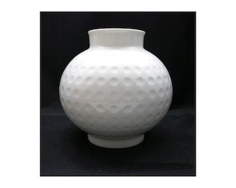 Op Art Vase   Arzberg Vase Golfball   Heinrich Löffelhardt   Mid Century Design   60s white vase