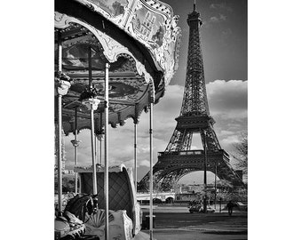 Paris Photography - Eiffel Tower and Carousel - Black and White Fine Art Photography, Large Wall Art - Paris Urban Photography