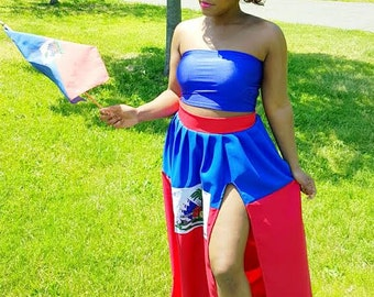 Custom Haiti Flag Maxi Skirt Haitian Dress Haitian Flag Day Outfit *Skirt Only *Other Countries Produced by Request