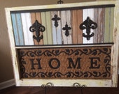 Fleur de Lis and Crosses placed on Salvaged Antique Window Frame and Patchwork Beadboard