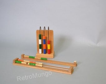 Set of 3 vintage abacus  childrens toy / learning tool - large and small