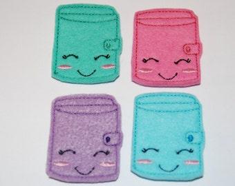 Set of 4 Notebook Binder Feltie Felt Embellishments