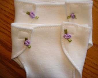 for Baby 15 inch Doll Clothes -Set of 2  Diapers cream color soft fabric orchid color rosebuds