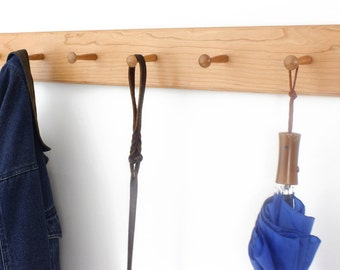 """Solid Cherry Shaker Peg Rack - 18 to 58"""" 3-10 pegs Handmade in the USA."""