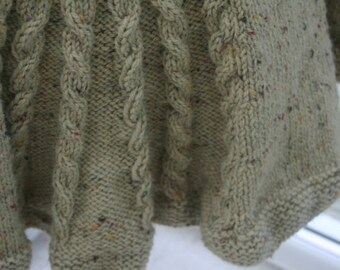 Long hand knitted tailored Irish Aran cable jacket with rear kick pleat - UK 12/14
