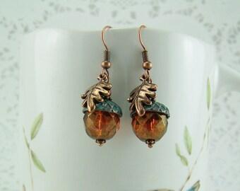 Verdigris Acorn Earrings, Crystal Acorn Earrings, Oak Leaf Earrings, Copper Oak Leaf, Copper Acorn, Acorn Earrings,Good Luck Earrings, Acorn