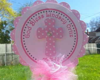 Baptism Centerpiece...God Bless Centerpiece...Dedication...First Communion...Confirmation... Matching Banners Are Available