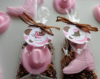 10 Cowgirl Party Favors, Cowboy Hats & Boots, Soap Favors, Western, Horseback, Horse Shows, Girls Birthdays