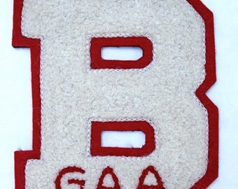 "Vintage Sweater Letter ""B"", Red White sweater letter"