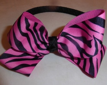 Black headband with pink zebra bow cute for girls