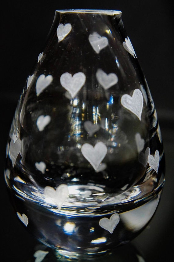 Hand Engraved Bud Vase, Small Glass Vase, Heart Vase, Art Deco Vase, Engraved Vase, Mini Vase Etched, Crystal Bud Vase, valentine