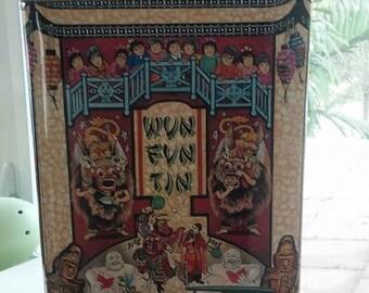 Tin Silver Crane Company Vintage Wun Fun Tin 1994 Made in England