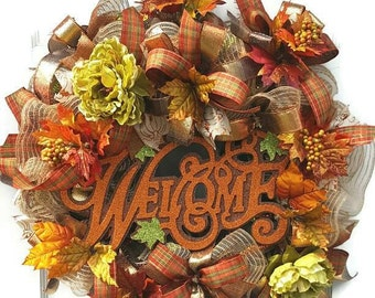 Fall Wreath, Fall Decor, Fall Mesh Wreath, Fall Decoration, Front Door Wreath, Autumn Wreath, Fall Welcome Wreath, Wedding gift