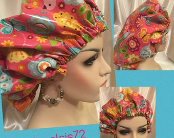 Summer Blooms-Satin Lined Shower Cap