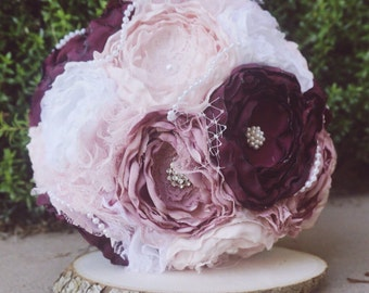 Fabric bouquet, Blush and dusty rose fabric bouquet, brooch bouquet, bride fabric bouquet