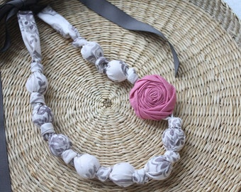 Fabric Necklace,Teething Necklace, Chomping Necklace, Nursing Necklace -  Sketch Gray  and Pink Rose