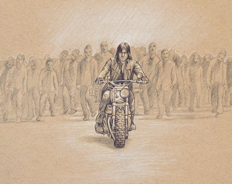 ORIGINAL DRAWING Daryl Dixon Motorcycle Walking Dead Zombies Father's Day Gift Pencil Sketch Fine Art Horror Fan Gift Portrait 8 x 10 Inches
