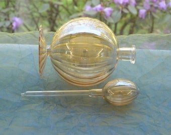 Champagne Gold Perfume Bottle - Hand Blown Glass, Stopper- Scalloped  & Ribbed - Vintage - Exquisite!