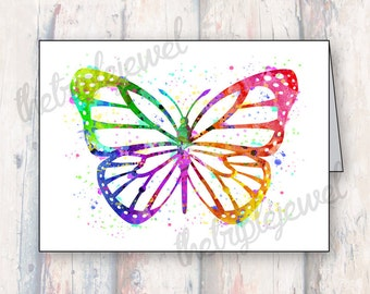 Butterfly Note Cards, Greeting Cards, Birthday Card, Special Gift, Geekery, Watercolor, Digital Art, Splatter, Colorful