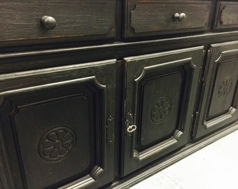 SALE..........Vintage Black Painted Credenza Media Console Cabinet