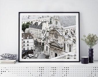 Paris Photography, black and white photography, Bathroom art, Paris wall decor Personalized home decor, large wall art, roof top Paris print