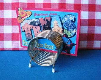 Gold Tone Memo Holder - Spiral - Mid Century Modern Desk - Vintage  1960's